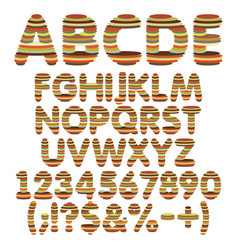 Color alphabet numbers signs from round layers vector