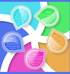 colorful five labels transparency infographic vector image
