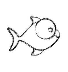 contour fish with big eyes icon vector image