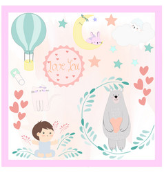 cute cartoon baby shower cardtoddler theme vector image