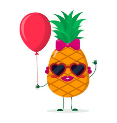 Cute pineapple cartoon character sunglasses hearts vector