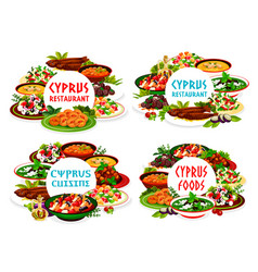 cyprian cuisine cyprus dishes round frames vector image