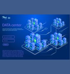 Data center design concept isometric vector