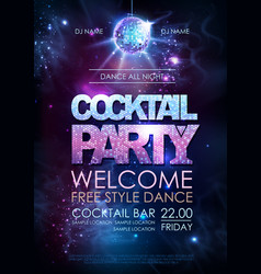 disco ball background disco cocktail party poster vector image