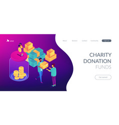 donation isometric 3d landing page vector image