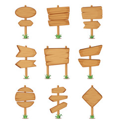 Empty wooden round and square signpost standing vector