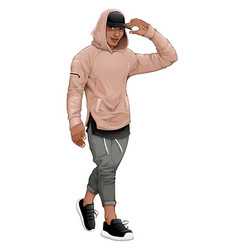 Fashion boy posing walking and touching his visor vector