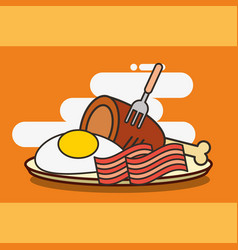 fast food chicken bacon and fried egg vector image