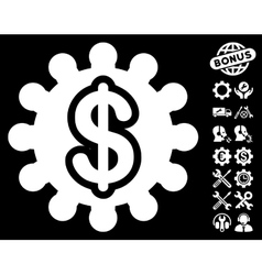 Financial Options Gear Icon with Tools vector