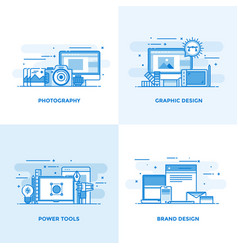 Flat line designed concepts 3 vector