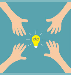 four hands arms reaching to idea light bulb sign vector image