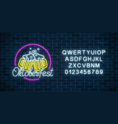 glowing neon sign of octoberfest festival with vector image