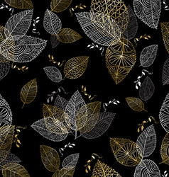 Gold hand drawn fall leaves seamless pattern vector