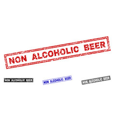 Grunge non alcoholic beer scratched rectangle vector