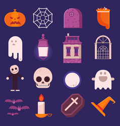 halloween icon set in flat design vector image