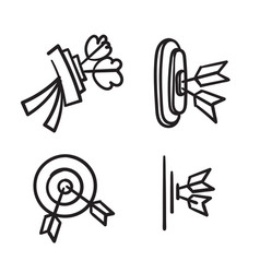 hand drawn doodle arrow and dartboard collection vector image