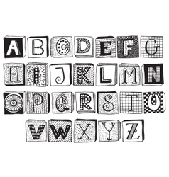 Hand drawn fancy alphabet on blocks vector image