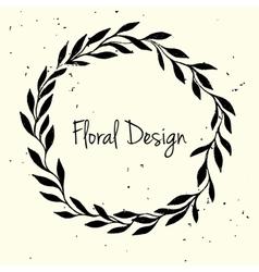 Hand drawn leaf wreath invitation card vector image