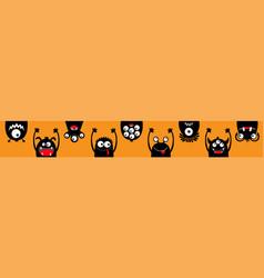 Happy halloween hanging monster black silhouette vector
