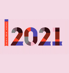 Happy new year 2021 striped multicolored numbers vector