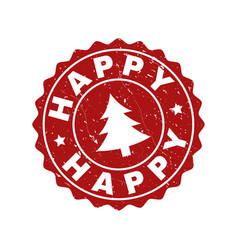 Happy scratched stamp seal with fir-tree vector