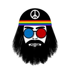 Hippie face icon vector