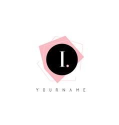 i letter pastel geometric shaped logo design vector image