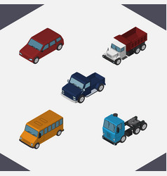Isometric automobile set of truck suv autobus vector