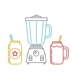 Kitchen blender and two mason jars with smoothie vector