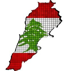 Lebanon map with flag inside vector