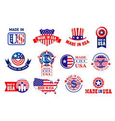 Made in usa quality product tags vector