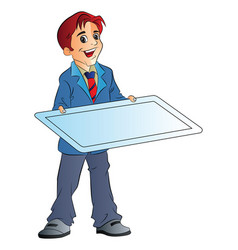 man holding an board vector image