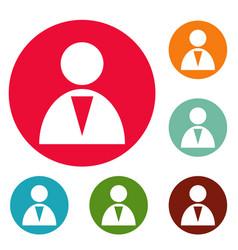 man icons circle set vector image