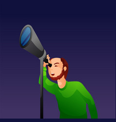 man looking through telescope vector image