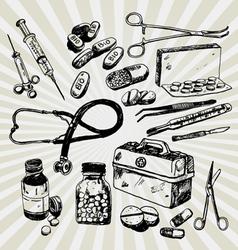 Medical stuff hand drawn vector