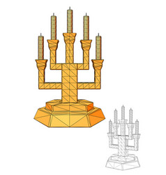 Menorah seven branched candlestick vector