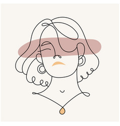 modern abstract facesilhouette a girl in a lin vector image