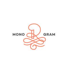 monogram letter r vector image