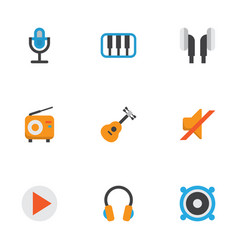 Music flat icons set collection of earpiece vector
