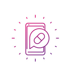 Pill reminder app line icon vector
