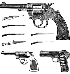 Pistol and gun set vector image
