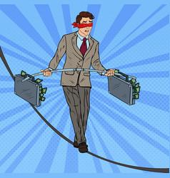 Pop art businessman walking on the rope vector