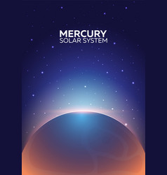poster planet mercury and solar system space vector image