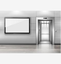 Realistic elevator with open door and tv screen vector