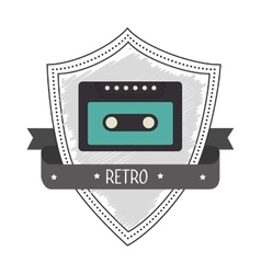Recorder cassette retro label design vector