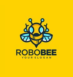 Robotic bee logo symbol design vector
