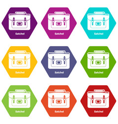 Satchel bag icons set 9 vector