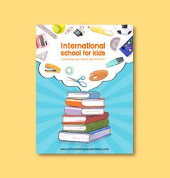 School poster design with books scissors palette vector