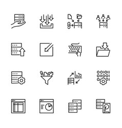 Set data processing activity line icon vector