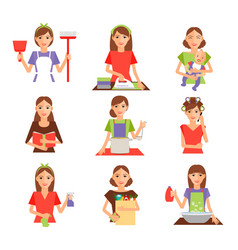 Set housewife icon in flat style vector